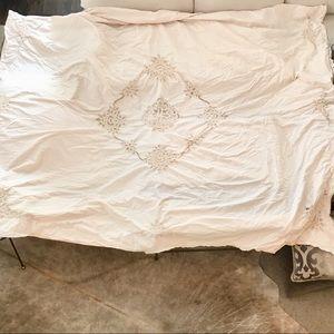 Anthro Duvet King Queen Boho Crochet Lace Bedding